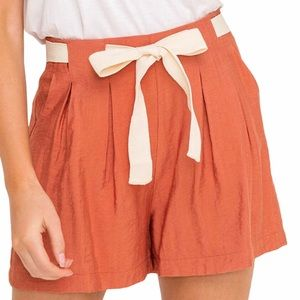 All in Favor Pleated Shorts - Front Tie - Size L